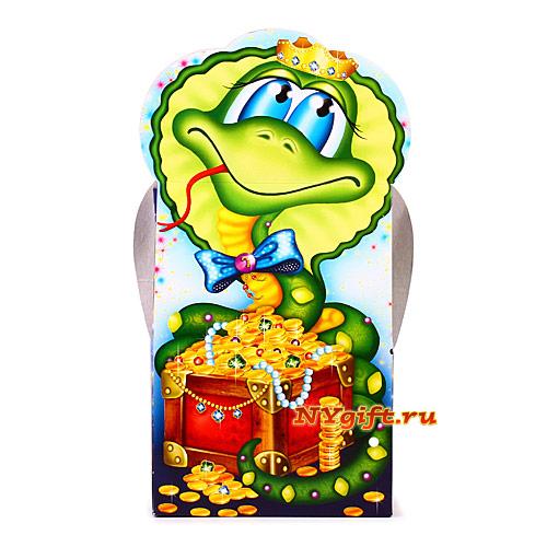 """Новогодний подарок с конфетами  """"Змейка с сокровищами """" вид сзади."""