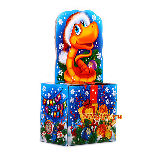"""Подарок на новый год 2013  """"Змейка на подарке """" вид сбоку."""