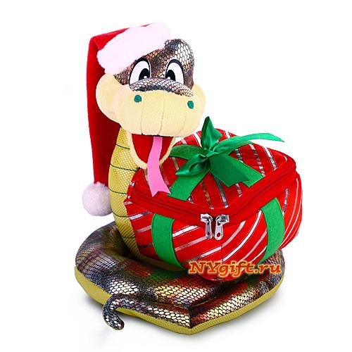 """Новогодняя упаковка оптом  """"Новогодняя змейка с подарком """" вид спереди."""