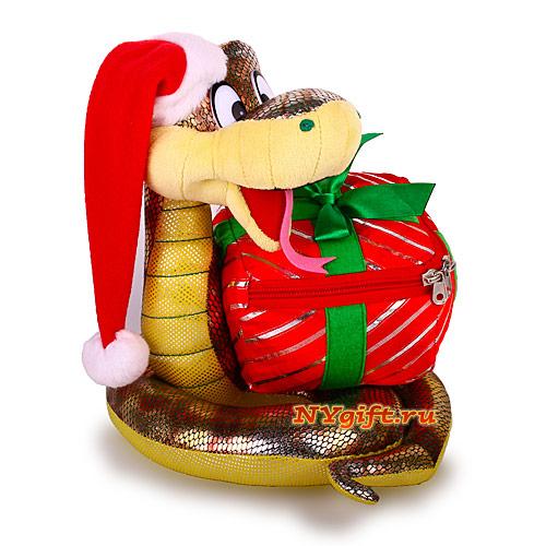 """Новогодняя подарочная упаковка  """"Новогодняя змейка с подарком """" вид с боку."""