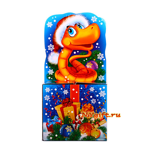 """Подарок на новый год  """"Змейка на подарке """" вид сзади."""
