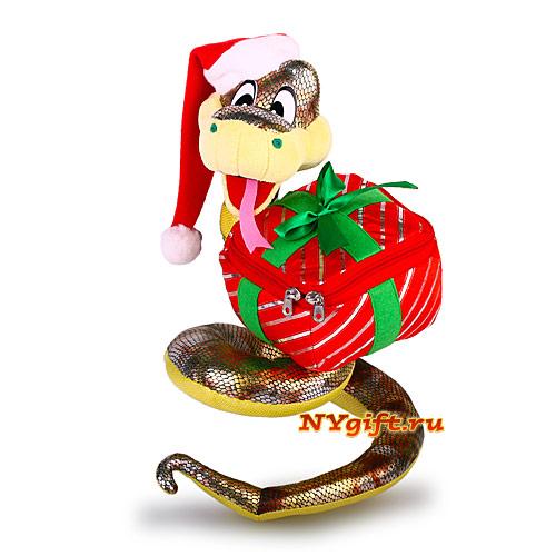 """Детская новогодняя упаковка  """"Новогодняя змейка с подарком """" приподнята."""